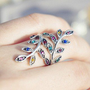 Telegant wave  wind and colorful drill crystal ring  from looback
