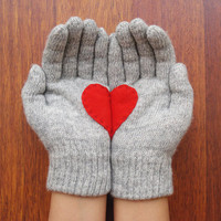 Heart Gloves, Grey Gloves with Red Felt Heart