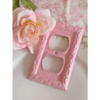 Shabby Darling Ornate Pink Iron Plug Outlet Cover - OUTLET & SWITCHPLATE COVERS - WALL DECOR