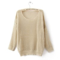 Cut out oversized chunky knit wear-EMS