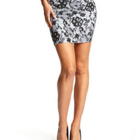 Charlotte Russe - Lace-Print Cotton Skirt