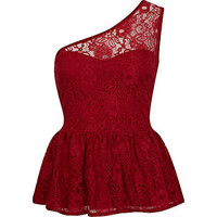 Red lace one shoulder peplum top