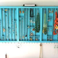 Jewelry Display in Distressed Teal by bluebirdheaven on Etsy