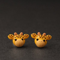 Giraffe Earrings Studs Safari Animals Cute Clay by PixieHearts