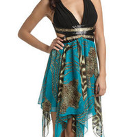 Embellished Animal Print Hanky Hem Dress - Women's Clothing and Apparel - Chic Dresses, Fashion Tops, Shoes, Bottoms, Denim and Accessories