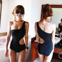 Trendy One Shoulder S-Shape Monokini One Piece Bathing Suit Swimsuit S-M-L SW91