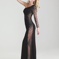 Black Jersey Sheer Beaded One Sleeve Prom Dress - Unique Vintage - Cocktail, Pinup, Holiday & Prom Dresses.