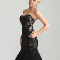 Black Sequined Lace & Tulle Strapless Mermaid Prom Gown - Unique Vintage - Cocktail, Pinup, Holiday & Prom Dresses.