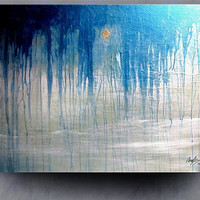 SEA MIST Original abstract modern art painting metallic by leearte