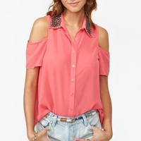 Total Stud Blouse - Coral