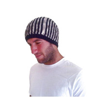 Knitting striped mens beanie, beret, hat, in black - beige , Winter 2013  Ready to ship