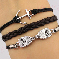 anchor bracelet,owls bracelet ,cute owls,wax cords&amp;braid leather,antique silver,charm bracelet,friendship bracelet
