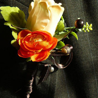 Weddings, Boutonniere, Bridal Bouquet, Flowers for the Bride, Orange Rose Boutonniere, Rose Boutonniere