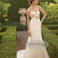 Sweetheart Neckline Satin Mermaid Bridal Gown with Lace Overlay and Bow Detailed Waist