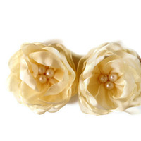 6 pieces ivory  vanilla organza flower with cream  pearls For  baby  wedding decoration bridesmaids  gift home decor accessories brooch
