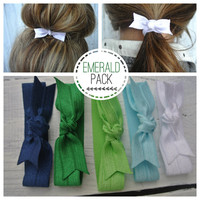 bow hair tie ponytail holders - emerald pack of 5- stretchy no dent no damage fold over elastic ribbon knotted ties