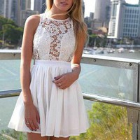 White Sleeveless Skater Dress with Sheer Floral Lace Top