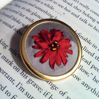 Christmas Flower Pin  Silk Ribbon Embroidery by BeanTownEmbroidery