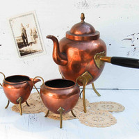Vintage Swedish COPPER Hot Chocolate Kettle Sugar Bowl and Creamer
