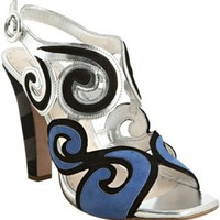 Prada cobalt and silver swirl slingback sandals | BLUEFLY up to 70% off designer brands