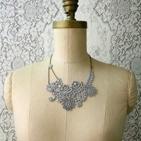 lace necklace ADIEU TRISTESSE pale grey by whiteowl on Etsy