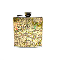 Flask- 6 oz Stainless Steel- As Seen in Real Simple Magazine - The Wanderlust Flask (TM) - Italy