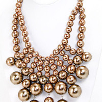 Midas Beaded Bib Necklace - Champagne -  $26.00 | Daily Chic Accessories | International Shipping