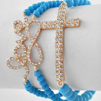 Turquoise Blue Bead Rhinestone Cross Word Love Infinity Sign Stretch Bracelets