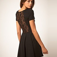 ASOS | ASOS Lace Back Dress with Skater Skirt at ASOS