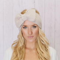 Knitted Bow Headband LARGE Bow Ear Warmer in by ThreeBirdNest