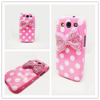 White polka Dot pink Crystal Bow Case for Samsung Galaxy S3