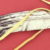 Hops Scrimshaw Large Eagle Feather with leather tie