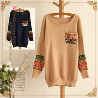 Pocket sleeve head pattern round neck sweater-EMS from ClothLess