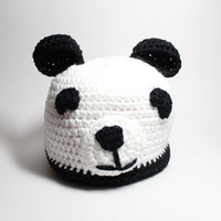 Panda beanie- Women&#x27;s winter hat - Black and white crochet beanie