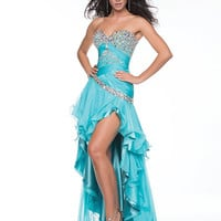 Turquoise Gathered Chiffon & Sequin Strapless Sweetheart Drop Waist Prom Dress - Unique Vintage - Cocktail, Pinup, Holiday & Prom Dresses.