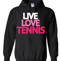 Amazon.com: Live Love Tennis Hoodie Sweatshirt: Clothing