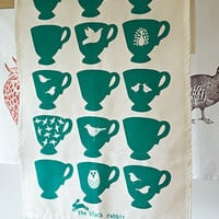 Bottle Green Homes - Painted Tea Cups Tea Towel