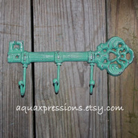 Cast Iron Hook / Jade Metal Key Hook /Wall by AquaXpressions