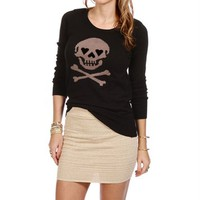 Black Long Sleeve Sweater With Skull Print