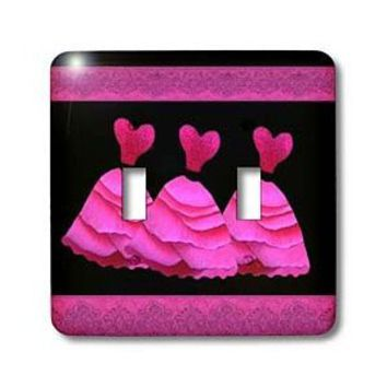 Jaclinart Dresses Hearts Ribbons Damask - Three frilly hot pink dresses with coordinating ribbons - Light Switch Covers - double toggle switch - Amazon.com