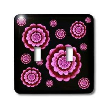 Amazon.com: Jaclinart Fantasy Flowers Floral Mandala - Pink and wine fantasy mandala flowers on black background - Light Switch Covers - double toggle switch: Home Improvement