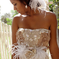 Whimsy Non Traditional Wedding Gown with Ostrich by CGHeaven