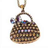 Vintage Multicolor Rhinestone Hollow Bag&Bow Pendant Long Chain Necklace at Online Vintage Jewelry Store Gofavor