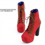 Wholesale Fashion Major Suit Dot High Heel Boots Red