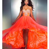 Mac Duggal Prom 2013 - Strapless Neon Orange Gown - Unique Vintage - Cocktail, Pinup, Holiday &amp; Prom Dresses.