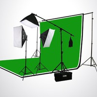 ePhoto H9004SB-69BWG Photography Studio Video Lighting Chromakey Screen 3 Muslin Backdrops Lighting