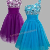 Trendy Rhinestones Single Shoulder Padded Prom Dresses S M L 16
