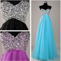 2013 Style A-line Beading Sweetheart Floor-length Chiffon Prom Dresses / Evening Dresses Free shipping