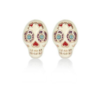 Cream floral skull stud earrings