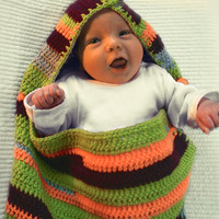 SLEEP SACK / sleeping bag for baby crocheted striped